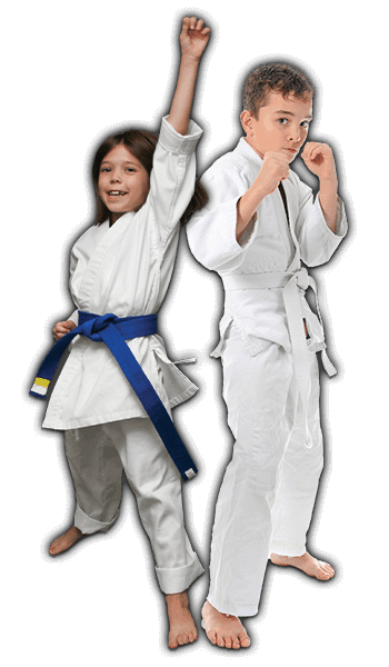 Martial Arts Lessons for Kids in Allen TX - Happy Blue Belt Girl and Focused Boy Banner